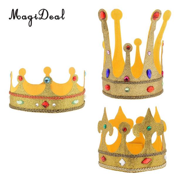 Sombrero de corona de peluche con brillo de princesa con adornos de cristal para niños disfraces para adultos, accesorios para el cabello