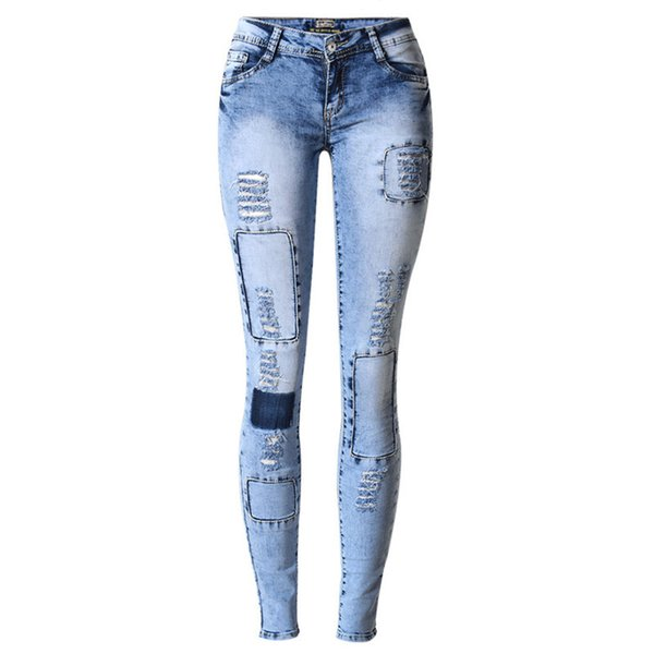 LOGAMI Ripped Jeans for Women Holes Skinny Jeans Slim Femme Womens Jeans Elastic Patchwork Pantalones Vaqueros Mujer 2017S914