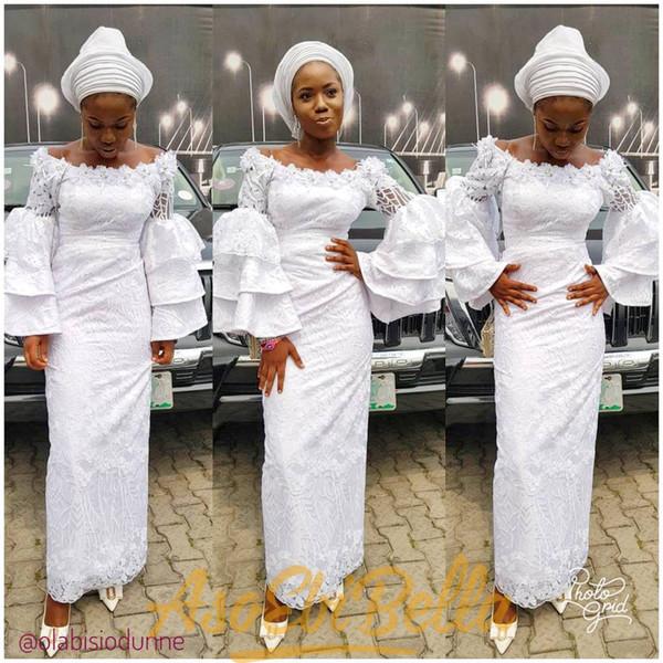 Estilos de Renda Nigeriano Branco 2018 Vestidos de Desgaste da Noite comprimento do tornozelo preto menina Prom Vestidos de mangas compridas em camadas Sem Encosto Africano Sereia Vestido