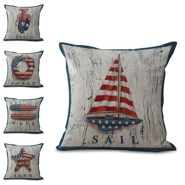 Amerikan Ulus Bayrak Yelkenli Tekne Fishstar hayat halka Yastık Kılıfı Yastık kılıfı keten pamuk Kare Yastık Kapak Dekor Bırak Gemi 300684