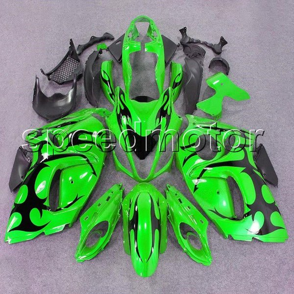 Gifts Injection mold black flame+green motorcycle Fairing for Suzuki GSXR1300 2008 2009 2010 2011 2012 2013 2014 2015 2016 ABS plastic kit