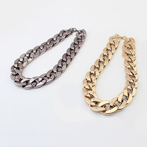 Women Girls Metal Alloy Choker Bib Collar Short chain Necklace for Party Banquet For Party