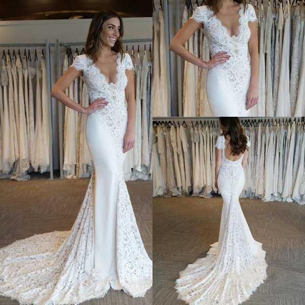Glamorous Berta Lace Wedding Dresses 2018 V Neck Cap Sleeve Mermaid Backless Court Train Modest Bridal Gowns Robe De Soiree Customized