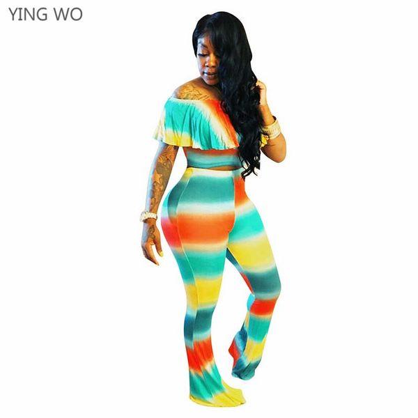 Satın Al çok Renkli Kravat Boya Baskılı Moda Kadınlar Iki Adet Set