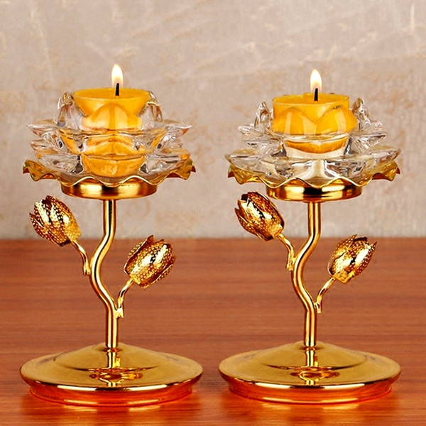 Free shipping Buddha toys 2 Buddhism Supplies Buddha crystal Butter lamp holder Lotus candlestick Light stand Home Buddhist temple Light toy