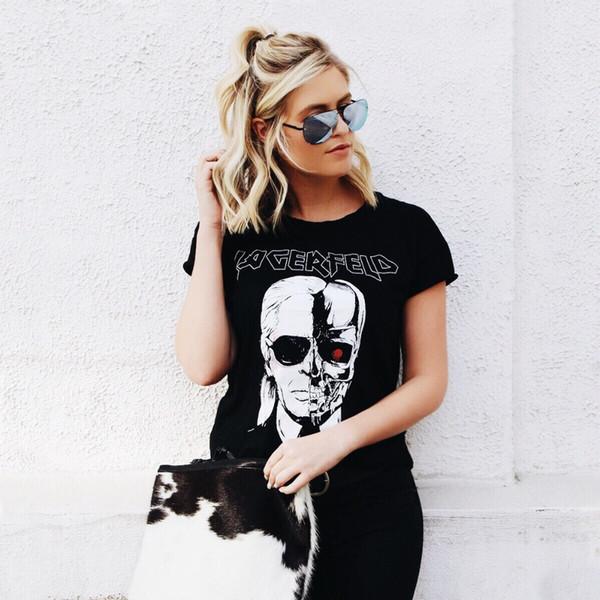 Chemises Femme Tops Marque Mode Nouveau Tête Squelette Imprimé Tee En Noir Zombie Skull Punk Rock Coton Chemises Femmes