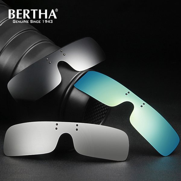 Bertha Polarized Clip on Sunglasses Square Polaroid Lens Men Women Myopia Flip Up Sun Glasses Night Vision Driving Clip on Glass