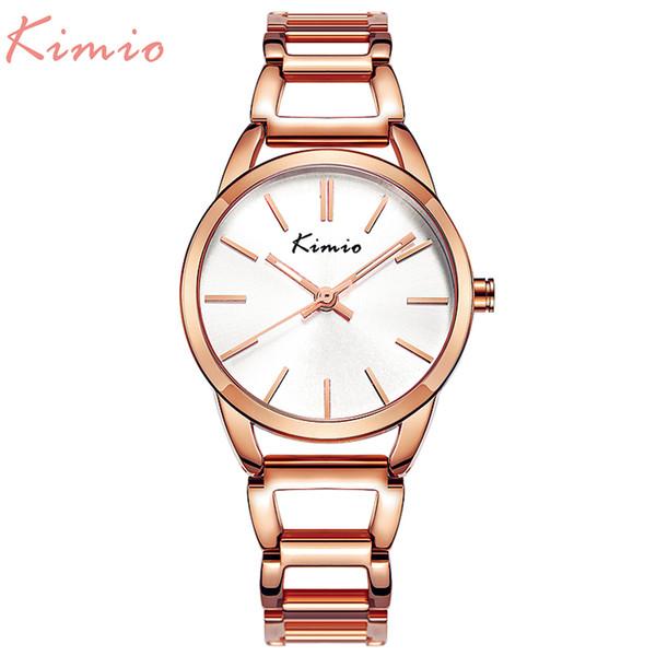 KIMIO Quartz Charming Stainless Steel Back Bracelet Watch Women Ladies Dress Crystal Clock Elegant Luxury wristWatches with box Y1890304