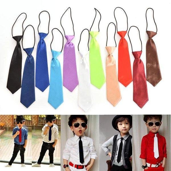 1X Boy Tie Kids Baby School Boy Wedding Necktie Neck Tie Elastic Solid 11 Colours
