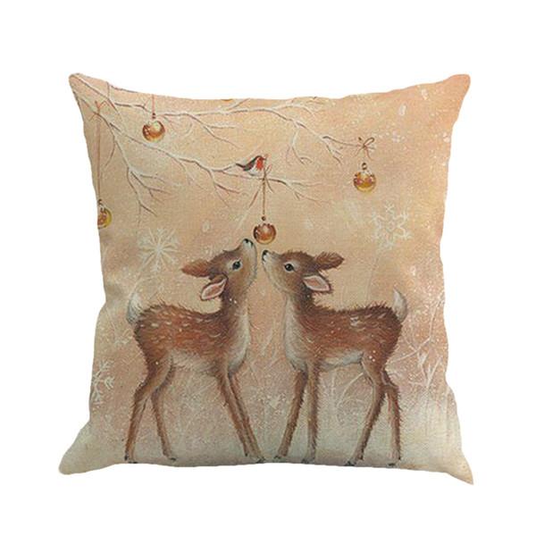 new design 45*45cm christmas deer snowman pattern cotton linen throw pillow cushion cover case car home sofa decorative pillowcase