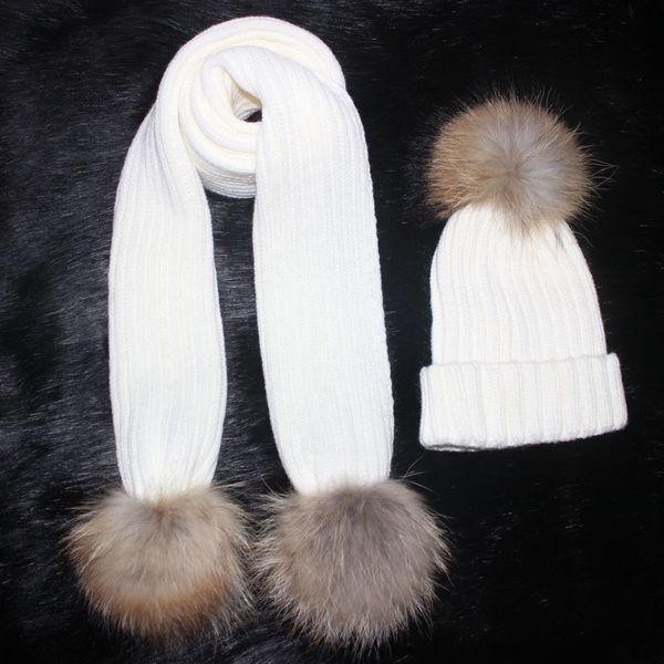 Punto femenino 180 cm largo bufanda y conjunto de sombreros Luxury Winter Warm Crochet sombreros y bufandas con pom de gorro de pelaje real para mujeres