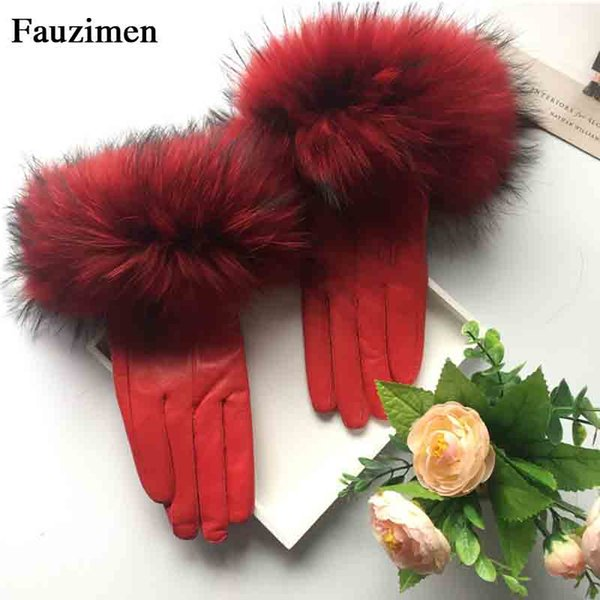 2018Hot Sale Colors Women Warm Thick Winter Gloves Leather Elegant Girls Brand Mittens With Real Raccon women Gloves