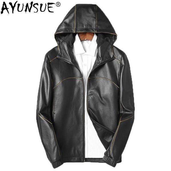 AYUNSUE Genuine Leather Jacket Men Autumn Sheepskin Coat for Men Motorcycle Korean Leather Jackets short Hooded 2018 KJ1256