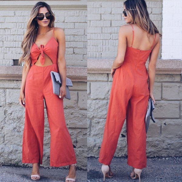 New Bohemian Style Lace Up Casual Women's Strap V Neck Sleeveless Backless Holiday Playsuit Long Beach Jumpsuit
