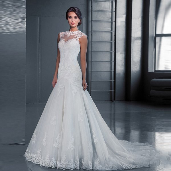 Korean Fashion Lace Wedding Dresses Women Bateau Lace Gown Dress Illusion Bodice plus size wedding party Dress with Sweep Train W20
