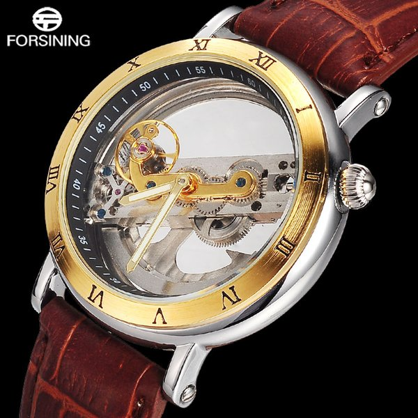 2017 New FORSINING Brand Men Full Skeleton Mechanical Watches Luxury Genuine Leather Self-Wind Automatic Clock Relogio Masculino