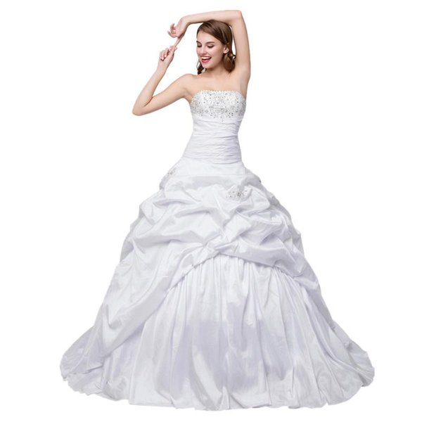 In Stock Boat Neck Wedding Dress Plus Size Embroidered Ball Gown ...