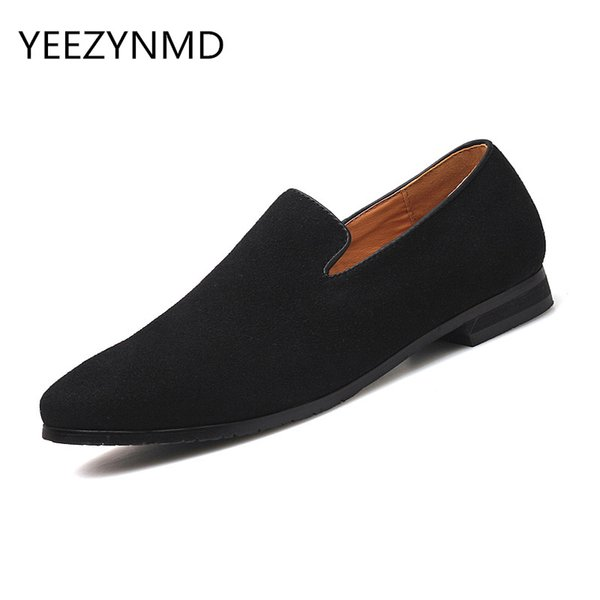 Men's Business Shoes PU Leather  Dress Shoes Male Fashion Pointed Toe Slip on Pure Color Grey Blue Black Fomal Footwear