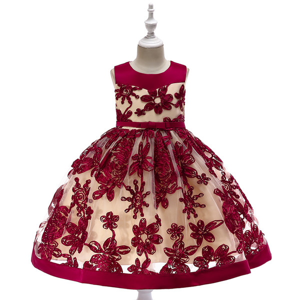 Hot Sale Baby Girl Flower sequins Dress Party Princess Dress Children kids clothes 9 colors 3-14yrs Flower Girl Dress