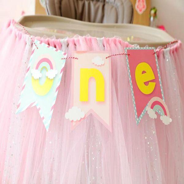 Bebek Ilk Doğum Günü Renkli Sandalye Banner Bir Yıl 1st Doğum Günü Partisi Dekorasyon Oğlan Kız Ben Bir TEK Bunting Malzemeleri R5