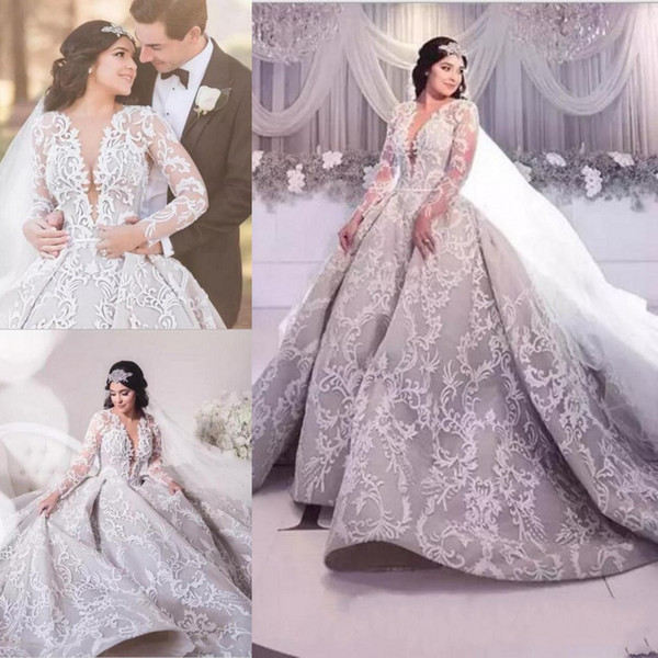 Plus Size Muslim High Collar Long Sleeves Wedding Dresses Lace Appliques Dubai Saudi Arabic Garden Cheap Robe De Soiree Bridal Gowns