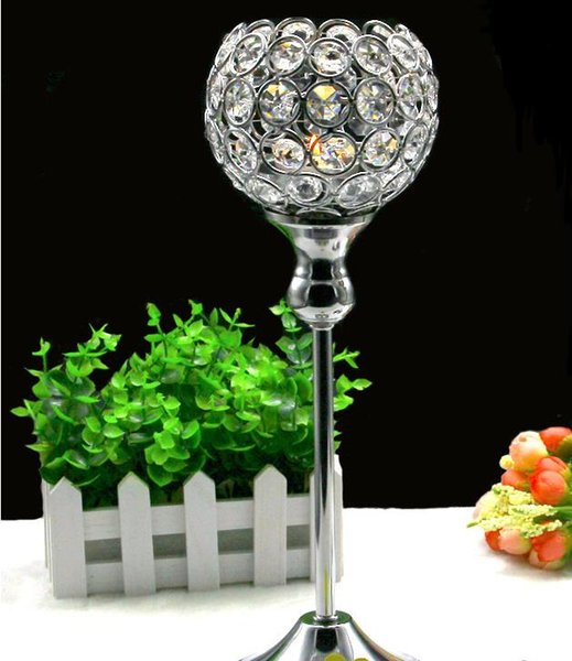 """20Pcs/Lot,Glass Crystal Candle Holders, 12"""" Tall x4"""" Wide,Wedding Centerpiece Metal Silver Candlestick Candle Stand"""