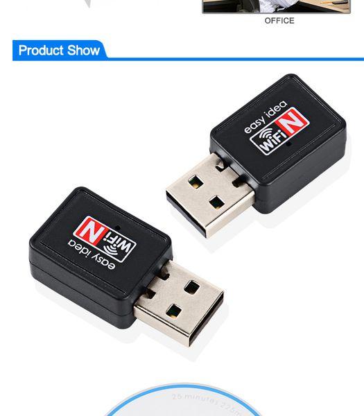 Mini USB Adaptador Wifi 150Mbps 2dB Antena PC USB Receptor Wi-fi Tarjeta de red inalámbrica 802.11b / n / g USB de alta velocidad Lan Ethernet