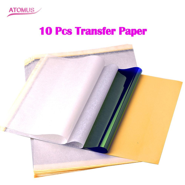 10 Sheets Tattoo Transfer Printing Paper Carbon Transfer Copier Paper Stencil Paper For Tattoo Gun Needle Ink Cups Grips Kits