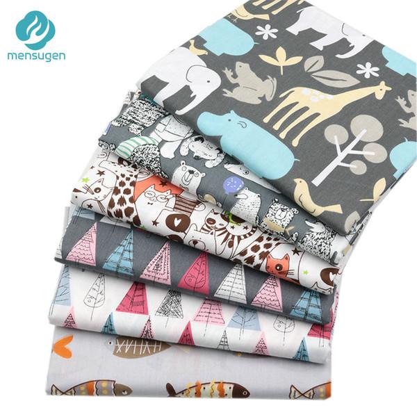 Mensugen 50 cm * 160 cm Animal de algodón de dibujos animados de tela para patchwork acolchar almohadas de costura ropa de cama de bebé material de decoración