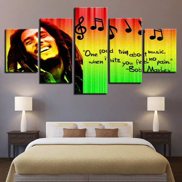 Stampe Immagini Home Decor Modulare Canvas Wall Art 5 Pezzi Bob Marley Painting For Living Room Poster di musica senza cornice
