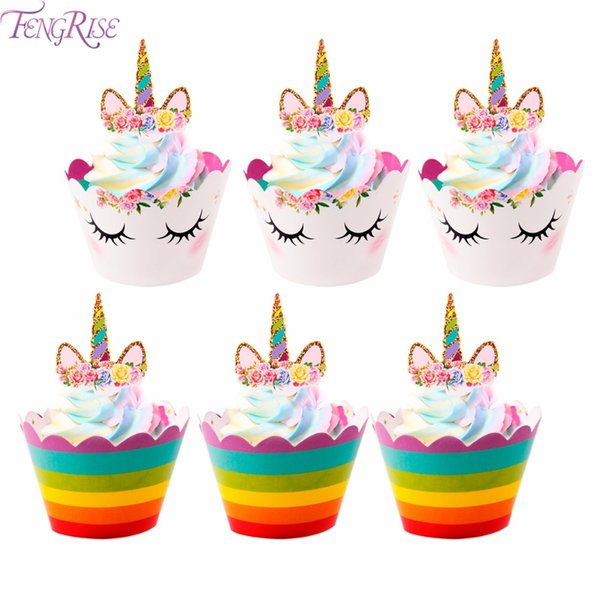 FENGRISE 24pcs Unicorn Cupcake Toppers Wrappers Kids Favors Unicorn Party Decoration Rainbow Birthday Baby Shower Cake Topper