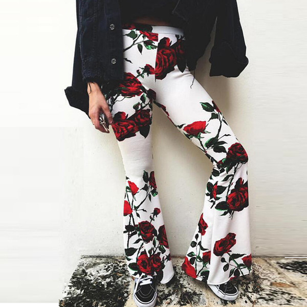 2019 Fashion Boho Style Leisure Womens Floral Print Palazzo Trousers Ladies Flared Loose Pants High Waist S-XL
