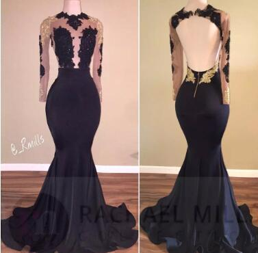 New African Black and Gold Mermaid Prom Dresses 2018 High Neck Sexy Open Back Long Sleeve Prom Evening Gowns BA5034
