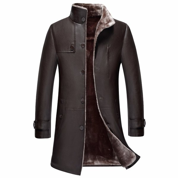 Wholesale- new arrival high quality Thickening leather overcoat medium-long trench fur one piece male winter plus size S-XL2XL3XL4XL