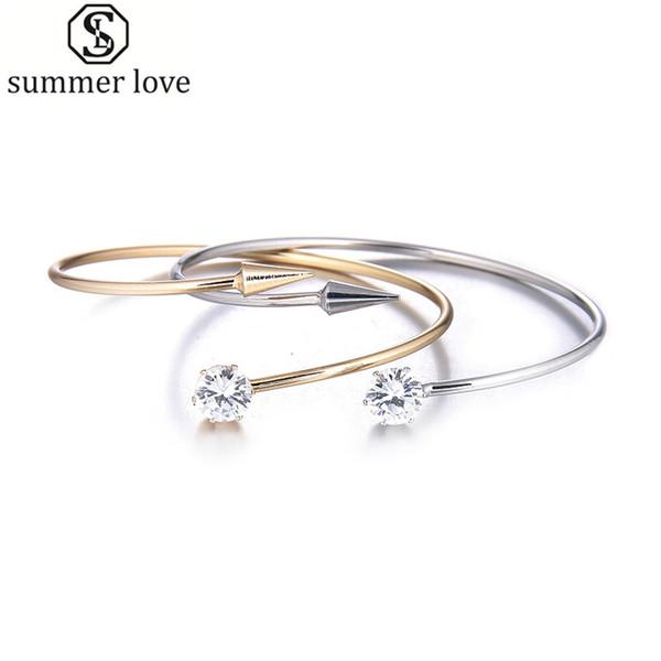 Fashion Minimalist Bracelet Women Bangles Crystal Opening Nail Cuff Bangle Bracelet With Arrow Bijoux Luxury Jewelry Designers