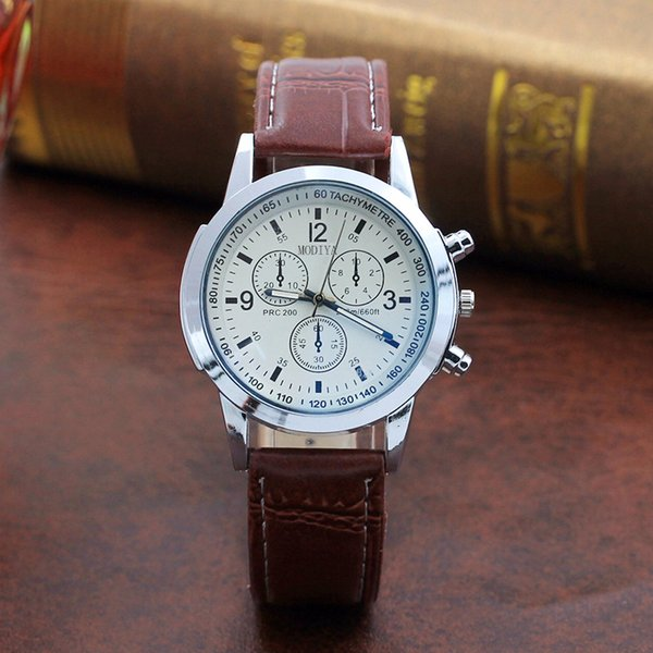 New Fashion low-cost Faux Leather Watches Mens Blue Ray Glass Quartz Analog Watch Wristwatch Clock Dropship