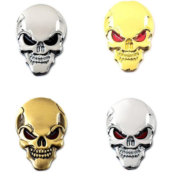3.7 * 5.5 CM Coche de Metal Auto Skull Head Fiesta de Halloween Decoración Auto Cuerpo Puerta Etiqueta de Parachoques Pegatina Horrible Calcomanías Películas Con Estilo Elegante Accesorio Nuevo