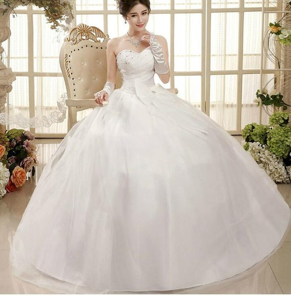 Brand New Women Rice white strapless Wedding dress long Wedding Gowns Robe lady's evening dress Traditional Bandage Wedding Dress ball gown