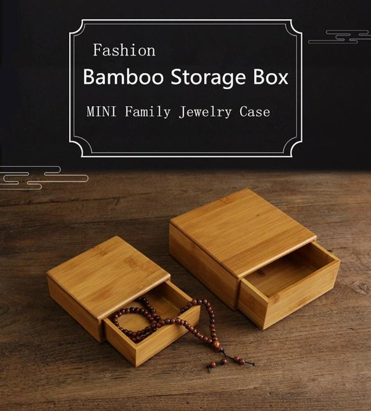 2018 Quanlity Small Bamboo Box Fashion Jewelry Simple Storage Family Cases MINI Natural Display Gift Box P013