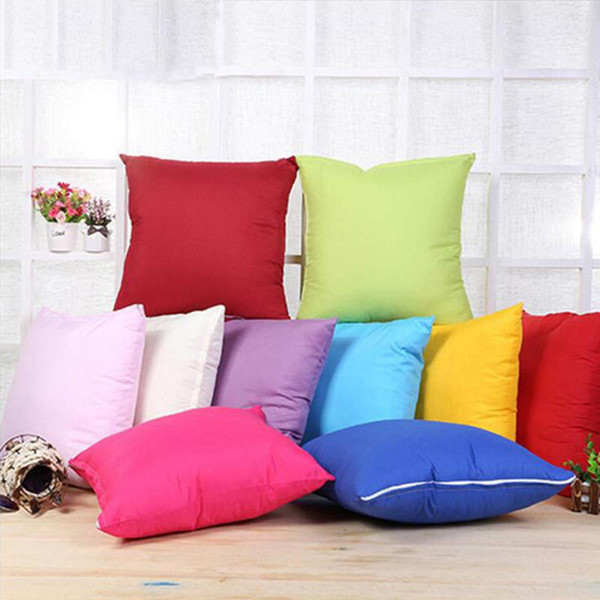 12 Colors Plain Throw Pillow Case Cover Blank Polyster Home Sofa Cushion Cover Car Home Decor XMAS Gift 45*45cm HH7-944
