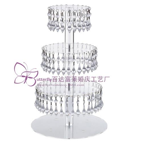 4 Tier Round Acrylic Glass Cupcake Tower Stand with Hanging Acrylic Crystal Bead-wedding Party Cake Tower/ Cupcake Holder/