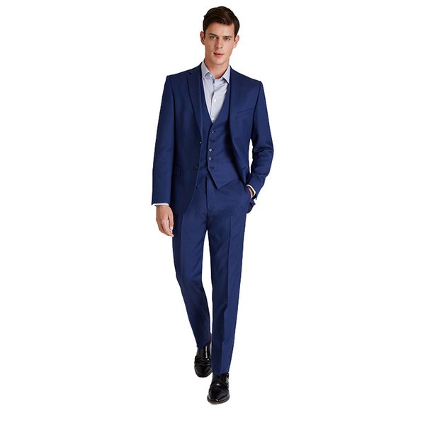 Navy Blue Men Wedding Suits Slim Fit Groom Tuxedos Best Man Blazers Groomsmen Wear 3 Pieces Jacket Pants Vest Two-Button Prom Party