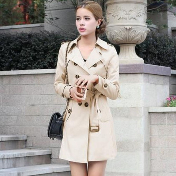 Trench Coat For Women Double Breasted Slim Fit Long Spring Coat Casaco Feminino Abrigos Mujer Autumn Outerwear XXL Free shipping
