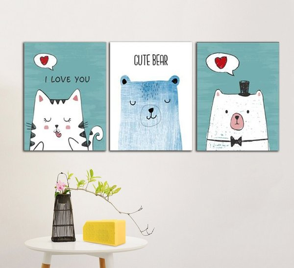 Nordic Style Cute Animal Cartoon Canvas Painting for Children's Room Decoration No Frame Modular Wall Art Picture