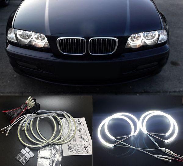 Ultra parlak 4 * 131mm 3528 SMD LED Melek Gözler BMW E46 E39 E38 E36 projektör için led far halo halka kiti beyaz E46