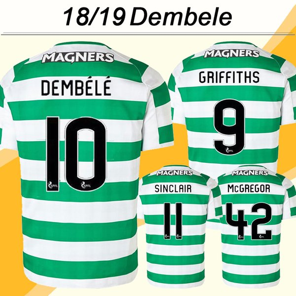 2018 19 DEMBELE GRIFFITHS Soccer Jerseys New Club SINCLAIR McGREGOR FORREST Home Mens Football Shirts Top Thailand Quality Short Uniforms