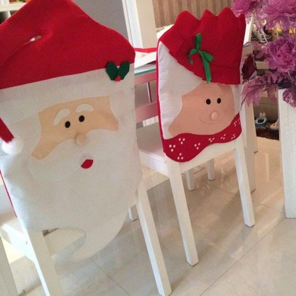 Mr&Mrs Santa Claus Christmas Chair Covers Dinner Seat Cover Banquet Chair Back Cover Xmas Party Home Decor Kids Mats 120pcs AAA941