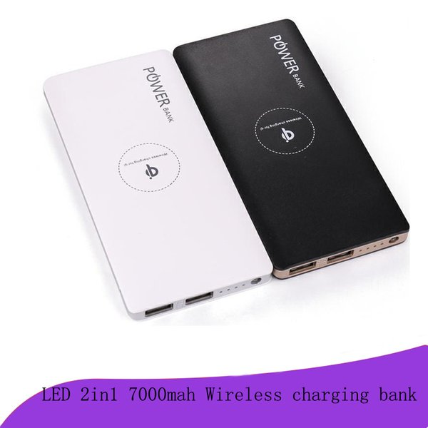 QI 7000 mAh Wireless Power Bank Portable Wireless Charger with Dual USB External Battery Pack for iPhone 8 X Samsung S8 Note 8 with package