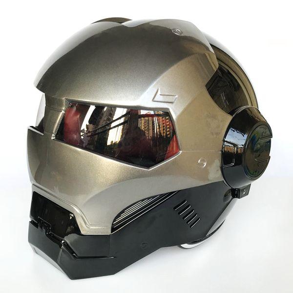 2018 New MASEI Bright Black &Grey ABS Iron Man helmet 610 motorcycle half open face helmet casque motocross M L XL