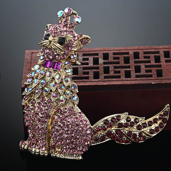 Blucome  Austrian Crystal Cat Brooch Pins For Women Anniversary Jewelry Vintage Hijab Accessories Broch Broaches